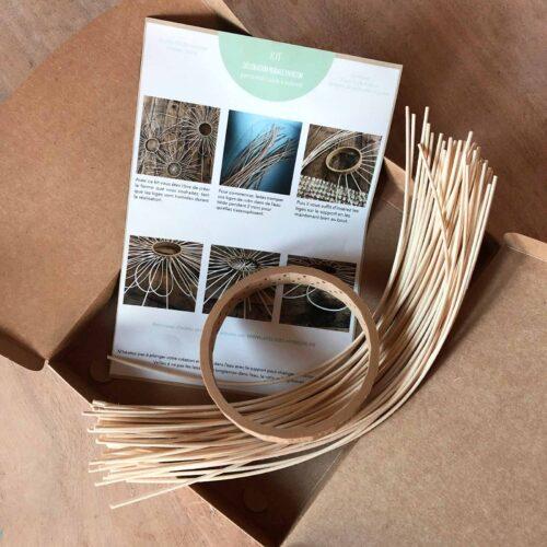 contenu du kit en rotin pour décoration murale ateliers hybride